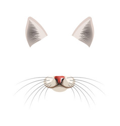 cat animal face filter template video chat photo vector image