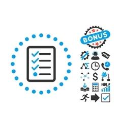 Checklist Flat Icon with Bonus vector image