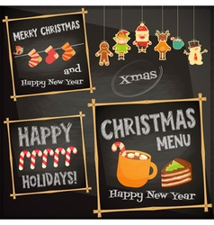 Christmas characters on chalkboard vector