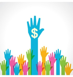 Colorful helping hand with dollar symbol vector image vector image