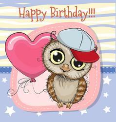 Cute cartoon owl with balloon vector