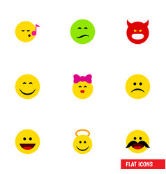 flat icon face set of smile descant laugh and vector image