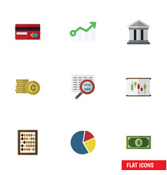 Flat icon finance set of growth graph cash and vector