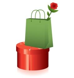 gift box and shopping bag vector image vector image