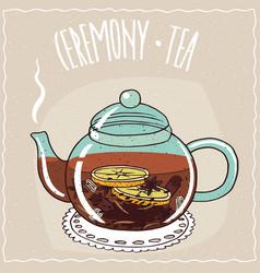 Glass teapot with christmas tea vector