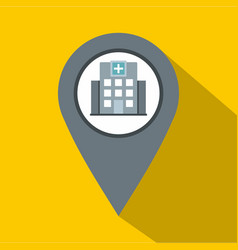 Gray map pointer with symbol hospital icon vector