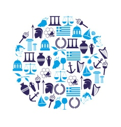 greece country theme symbols and icons in circle vector image