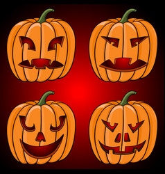 Halloween pumpkin collection hand drawn sketch vector