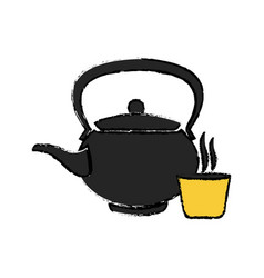 Japanese kettle teapot ceramic beverage vector
