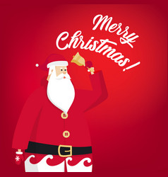 merry christmas santa claus is holding a bell vector image
