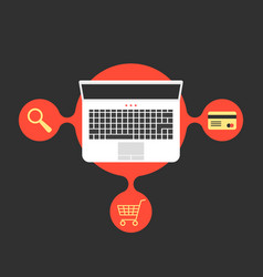 Online shopping with laptop and red bubble vector