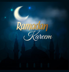 Ramadan kareem greeting card - islamic mosque vector