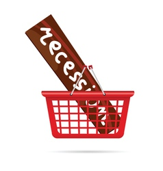 Recession in red basket vector