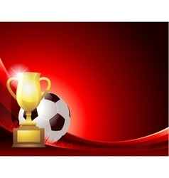 Red abstract Soccer background with ball and vector image