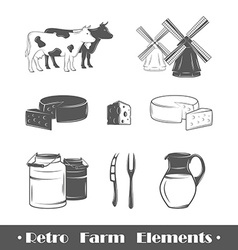 Retro farm elements vector image vector image