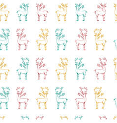 seamless pattern deer and christmas animals new vector image