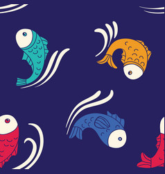 Seamless pattern with decorative fishes vector