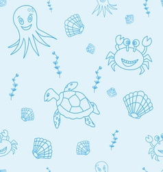 Seamless pattern with hand drawn sea life vector