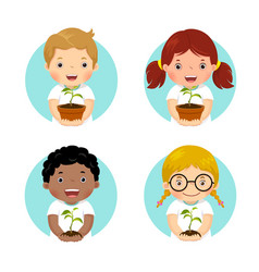 set of kids holding young plant vector image vector image
