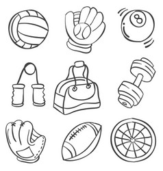 sport equipment hand draw style doodles vector image