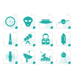 stylized astronautics and space icons vector image vector image