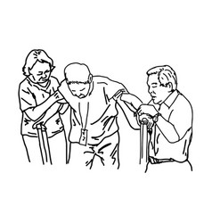 Two people help a disable up with crutches vector