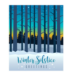 Winter solstice sky and bare trees vector