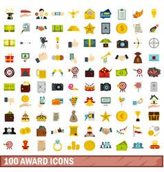 100 award icons set flat style vector image