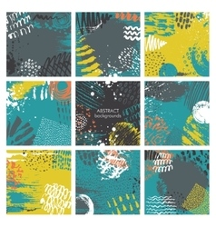 Set of nine abstract backgrounds with hand drawn vector