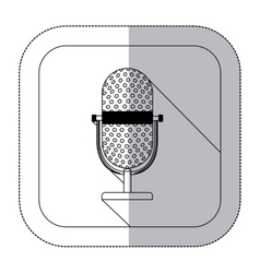 Middle shadow monochrome sticker with microphone vector