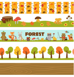Set of isolated borders forest vector