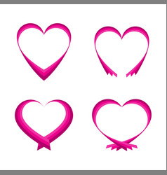 Set of pink abstract hearts vector