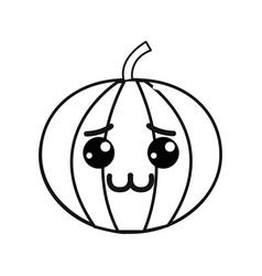 Silhouette kawaii nice shy pumpkin vegetable vector