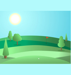 golf course with a hole and a red flag landscape vector image