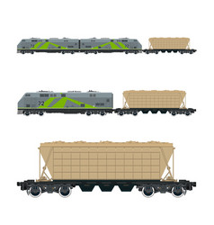 Green locomotive with hopper car on platform vector