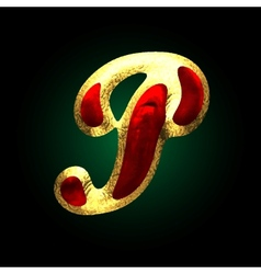 Golden and red letter p vector