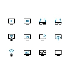 Tv duotone icons on white background vector