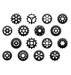 Gears and pinions silhouettes set vector