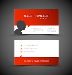 Modern simple red business card template with user vector image