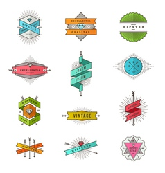 Set of colored hipster line signs and emblems vector