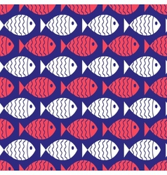 Seamless nautical pattern with fish vector