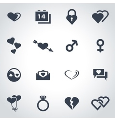 Black love icon set vector