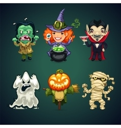 Set of cartoon halloween characters vector