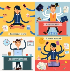 Success and stress at work set of banners vector