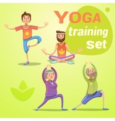 Yoga retro cartoon set vector
