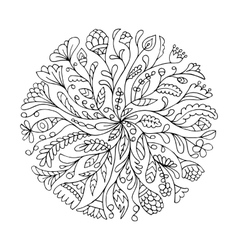 Floral circle ornament hand drawn sketch for your vector image