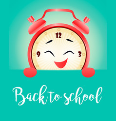 back to school background with realistic clock vector image