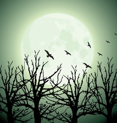 big moon trees and birds vector image vector image