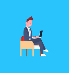 business man sit using laptop computer male office vector image