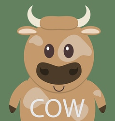 Cute brown cow cartoon flat icon avatar vector image vector image